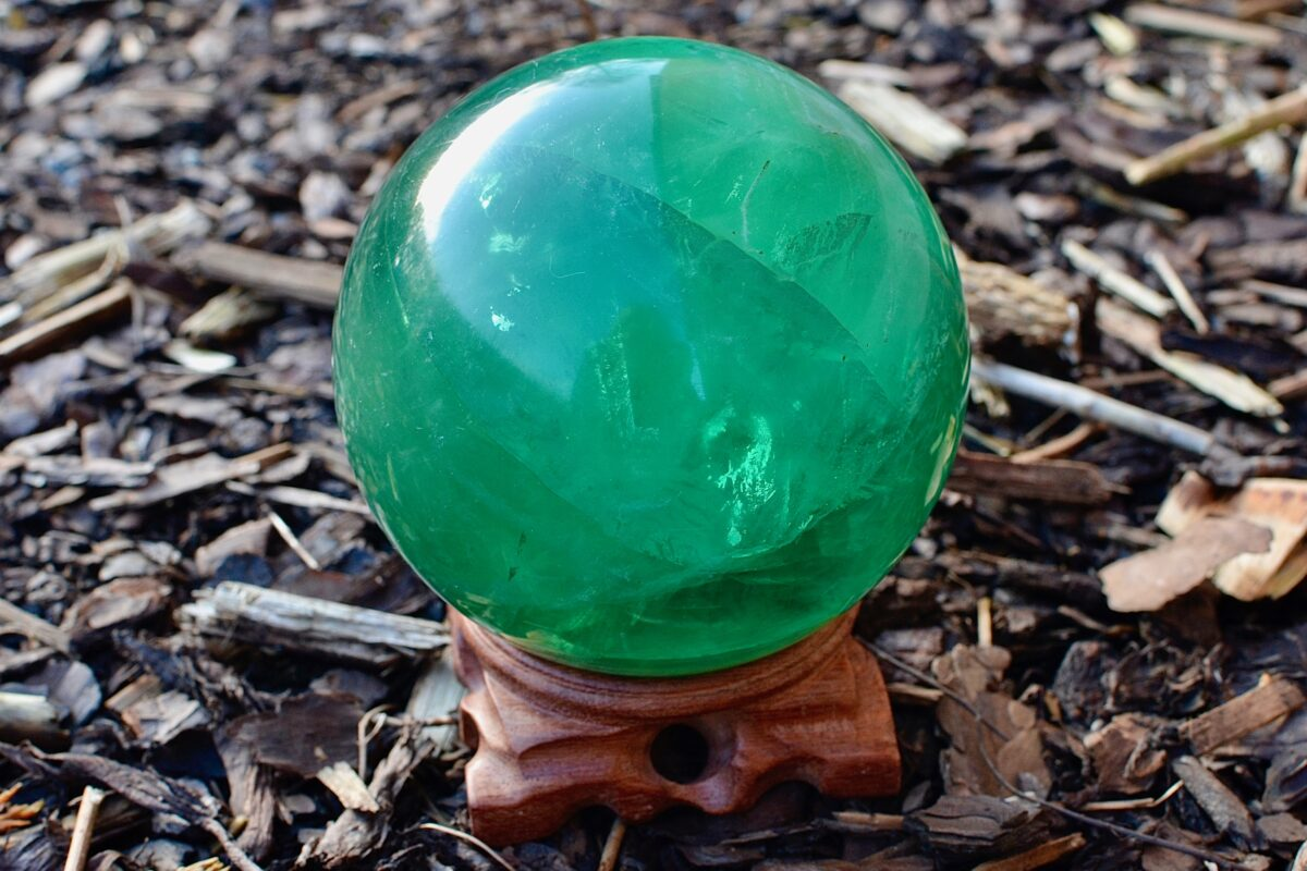 Grøn flourit kugle til Reiki-healing